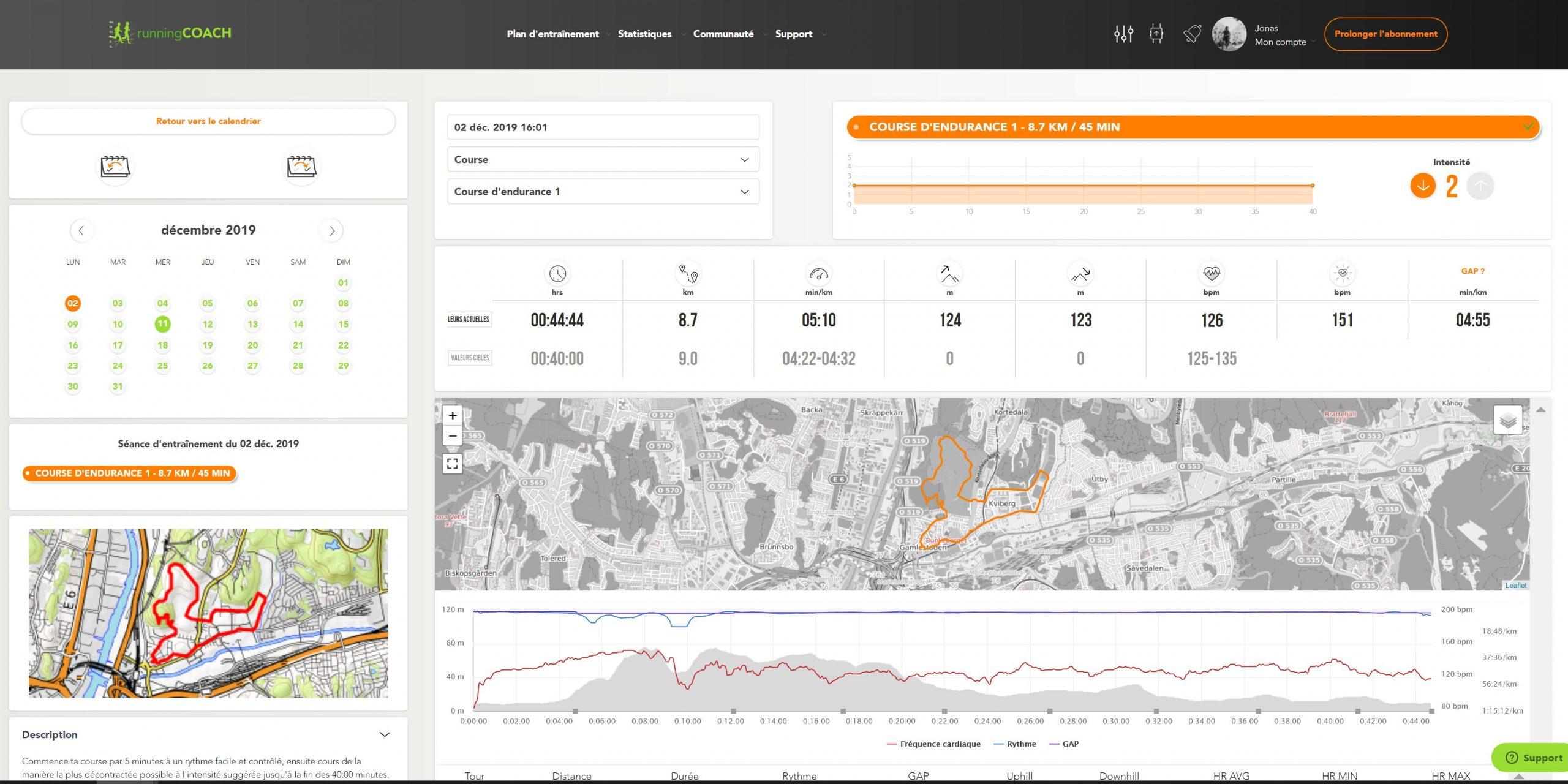 running.COACH Plan Detail French