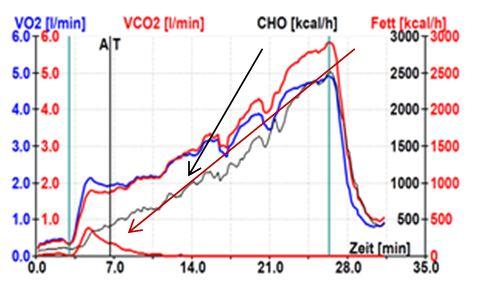 Triathlet mit Leistungsintoleranz: ungenügend ausgebauter Fettstoffwechsel (schwarzer Pfeil) mit dadurch Linksverschiebung der aeroben Schwelle (AT) und früherem Aufbrauchen der Zuckerreserven (Glykogen – schwarzer Pfeil).