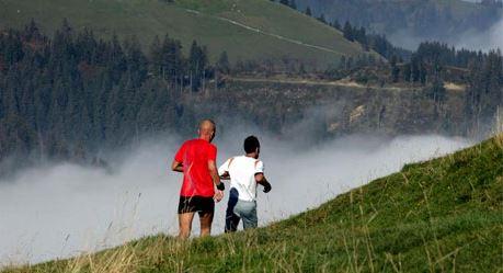 Grüne Wiesen, steile Hügel, mystische Nebelschwaden - das ist der Napf Marathon