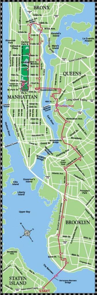 Der Streckenplan des NYC Marathons