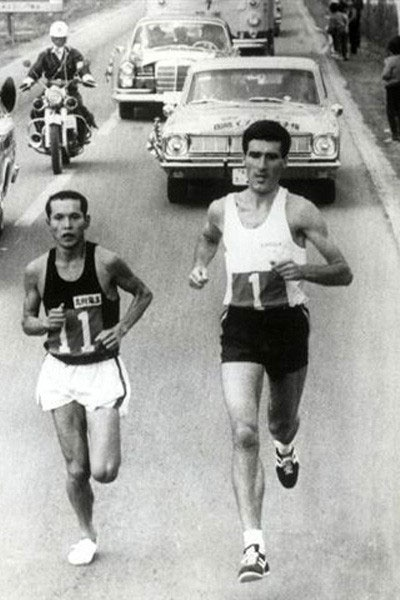 Derek Clayton während des Fukuoka Marathon 1967