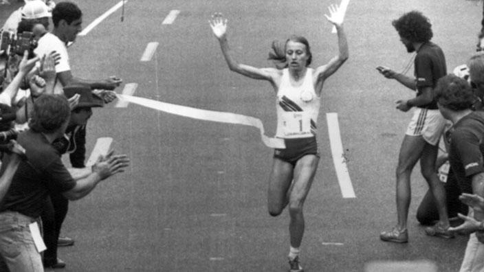 Grete Waitz bei einem ihrer neun Siege in New York.