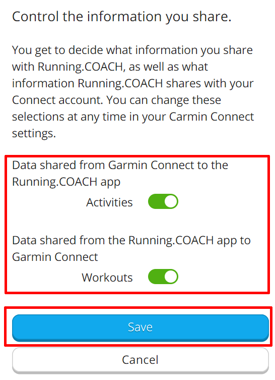 Garmin Connect Synchronisierung