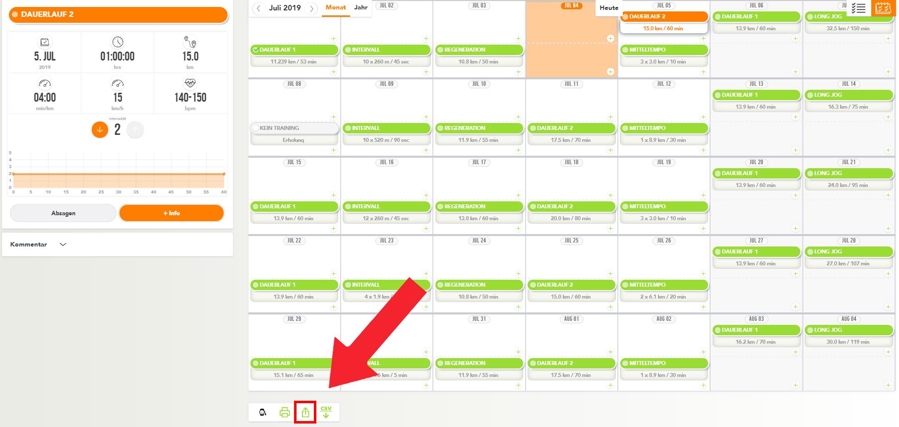 running.COACH Kalender exportieren